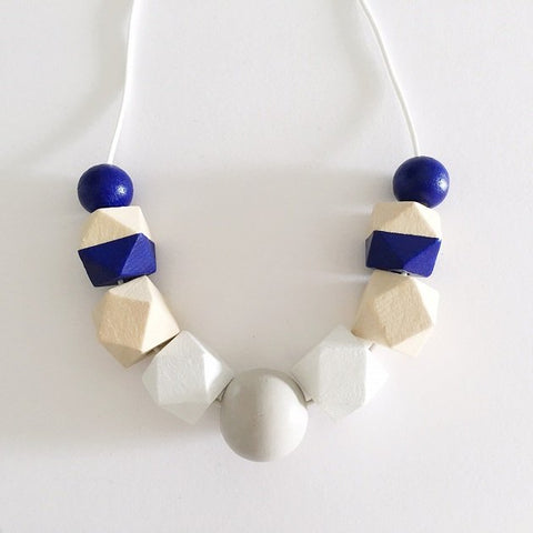 Geometric Monotone Necklace (Cobalt), Necklaces - The Happy Beach