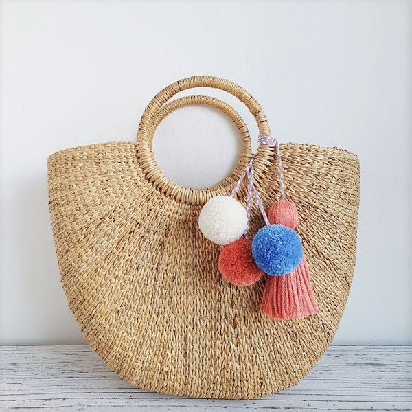 Cressia Straw Bag With Trio pom poms tassel (Sunset),  - The Happy Beach