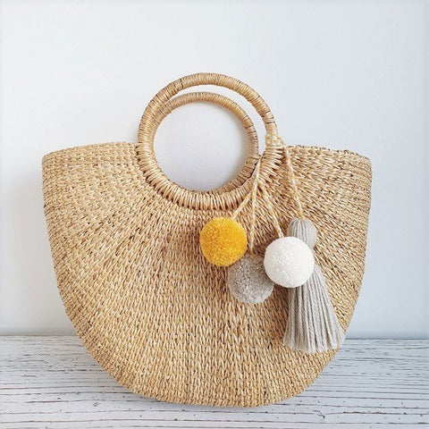 Cressia Straw Bag With Trio pom poms tassel (Spring), Bags - The Happy Beach