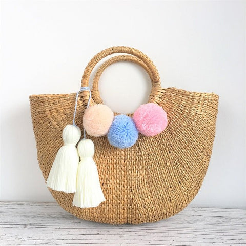 Cressia Straw Bag With Chunky Tassels (Beige),  - The Happy Beach