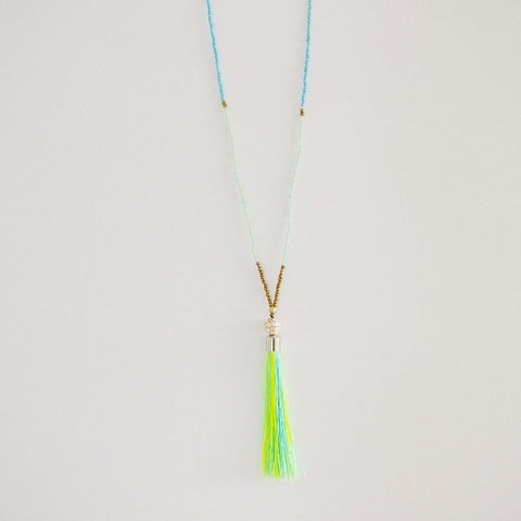 Bohemian Tassel Necklace (Green), Necklaces - The Happy Beach