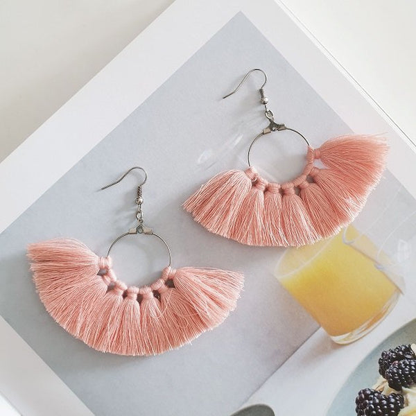 Cassie Tassel Earrings (Pink), Earrings - The Happy Beach