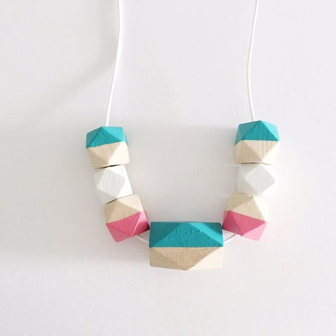 Geometric Monotone Necklace (Teal/Pink), Necklaces - The Happy Beach