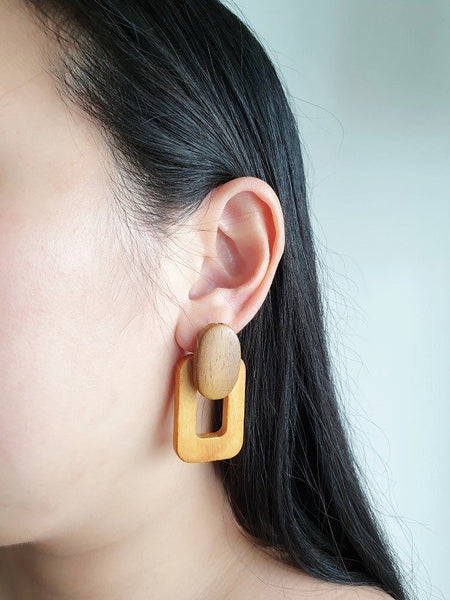 Cass wooden earrings (Yellow), Earrings - The Happy Beach