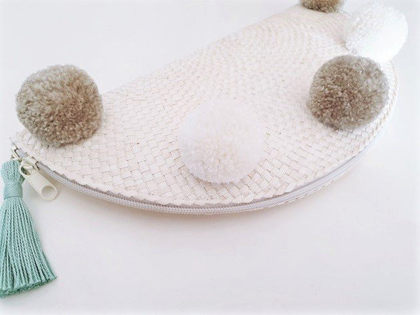 Taco Pom Poms Clutch (Grey/Ivory), Bags - The Happy Beach