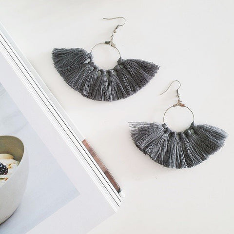 Cassie Tassel Earrings (Grey), Earrings - The Happy Beach