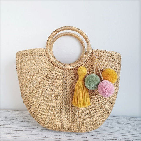Cressia Straw Bag With Trio pom poms tassel (Summer), Bags - The Happy Beach