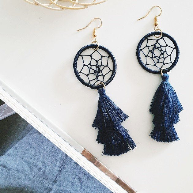 Dreamcatcher Tassel Earrings (Navy), Earrings - The Happy Beach