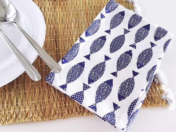 School Of Fishes Napkin, Napkins - The Happy Beach