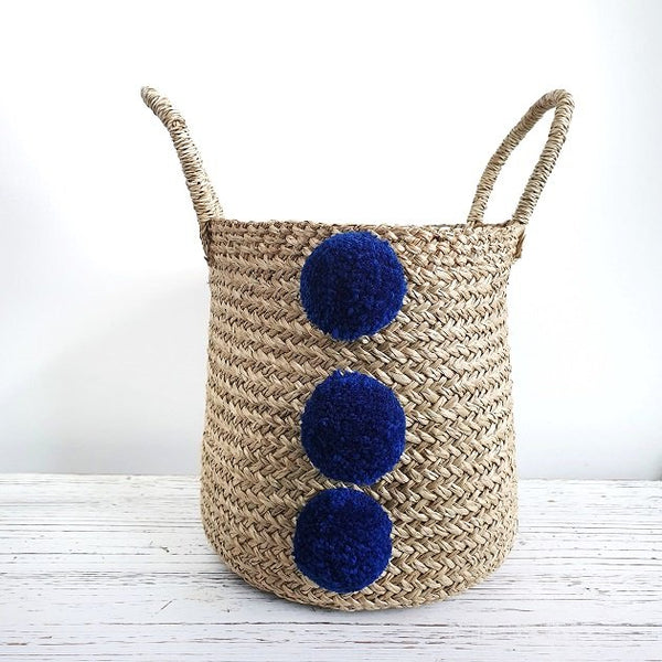 Lauryn Pom Pom Basket (Navy Blue), Bags - The Happy Beach