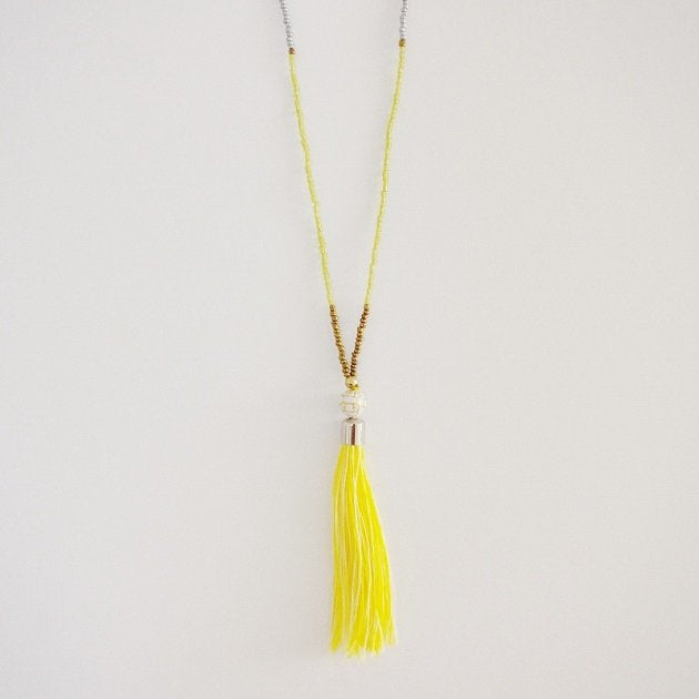 Bohemian Tassel Necklace (Yellow), Necklaces - The Happy Beach