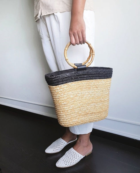 Cate Straw Bag with bamboo handles, Bags - The Happy Beach