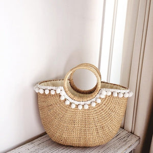 Cressia Straw Bag With Mini Poms (White), Bags - The Happy Beach