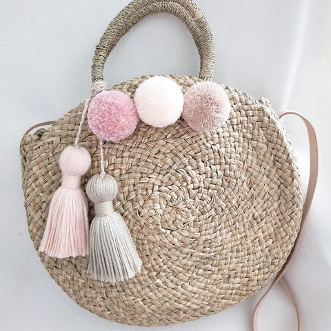 Alessa Roundie Medium (Trio Pom Poms), Bags - The Happy Beach