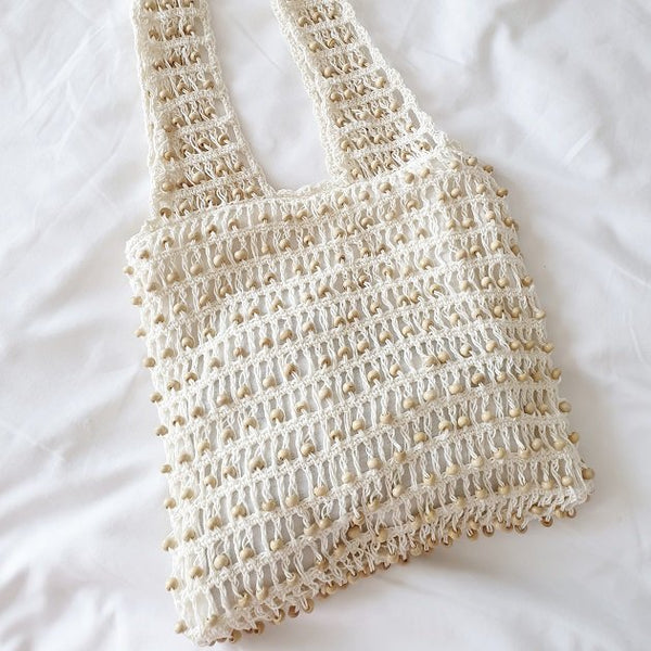 Carla crochet beaded tote (White), Bags - The Happy Beach