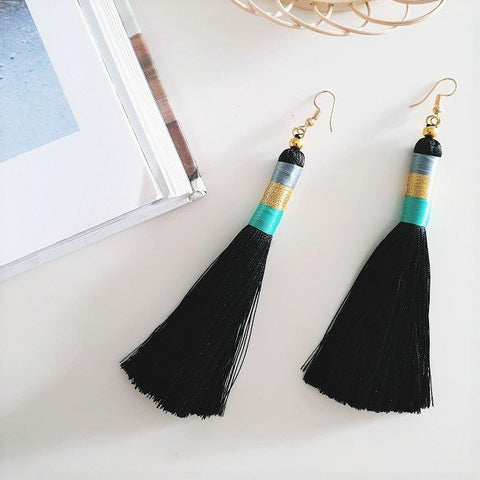 Poppy Tassel Earrings (Black), Earrings - The Happy Beach