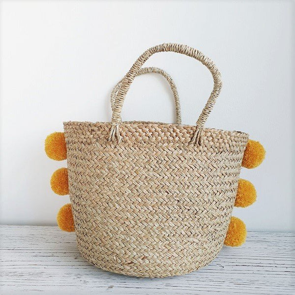 Lauryn Pom Pom Basket (Mustard), Bags - The Happy Beach