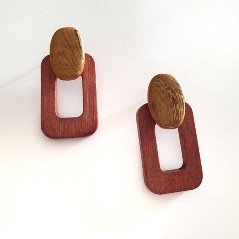 Cass wooden earrings (Rust), Earrings - The Happy Beach
