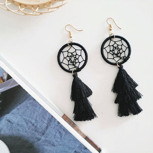 Dreamcatcher Tassel Earrings (Black), Earrings - The Happy Beach
