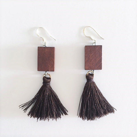 Wooden Tassel Earring, Earrings - The Happy Beach