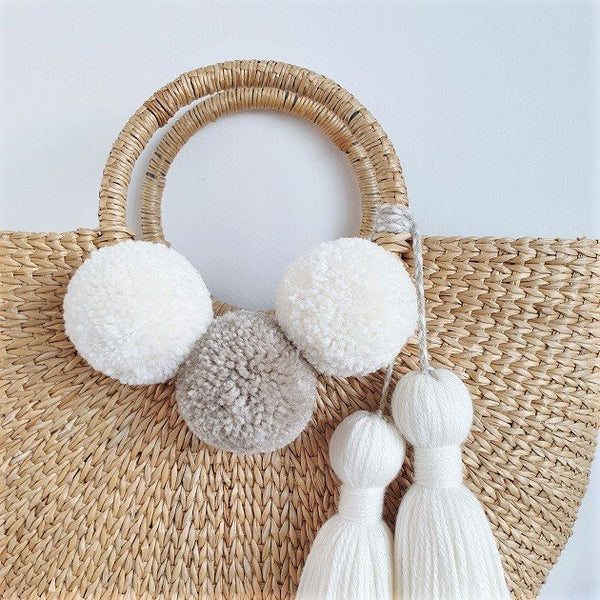 Cressia Straw Bag With Chunky Tassel (Mist), Bags - The Happy Beach