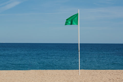 green beach warning flag