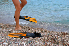 swim fins at beach