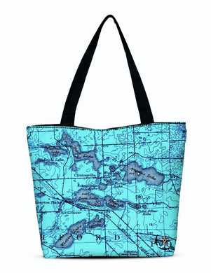 Watkins, Angelus, and Woodhull Lake Area Canvas Zip Tote