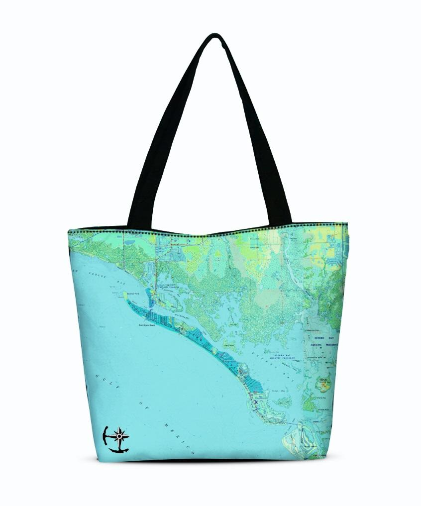 Fort Myers Beach Canvas Zip Tote