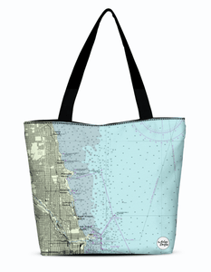 Chicago Lakefront Canvas Zip Tote