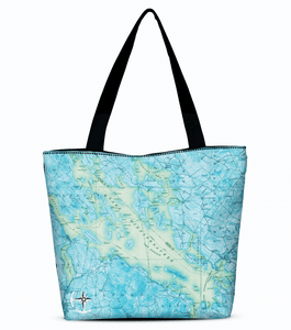 Lake Winnipesaukee Canvas Zip Tote