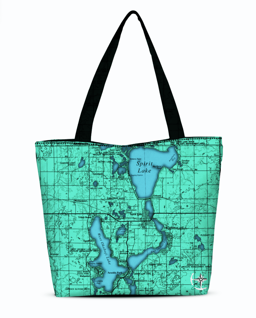 Iowa Great Lakes Canvas Zip Tote