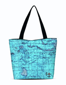 Lower Straits, Commerce, and Walled Lake Area Canvas Zip Tote