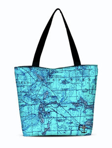 Williams, Maceday, and Deer Lake Area Canvas Zip Tote