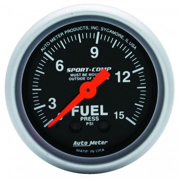 Auto Meter Mechanical Fuel Pressure Gauge 0-15 PSI, Sport-Comp - Northwest Diesel