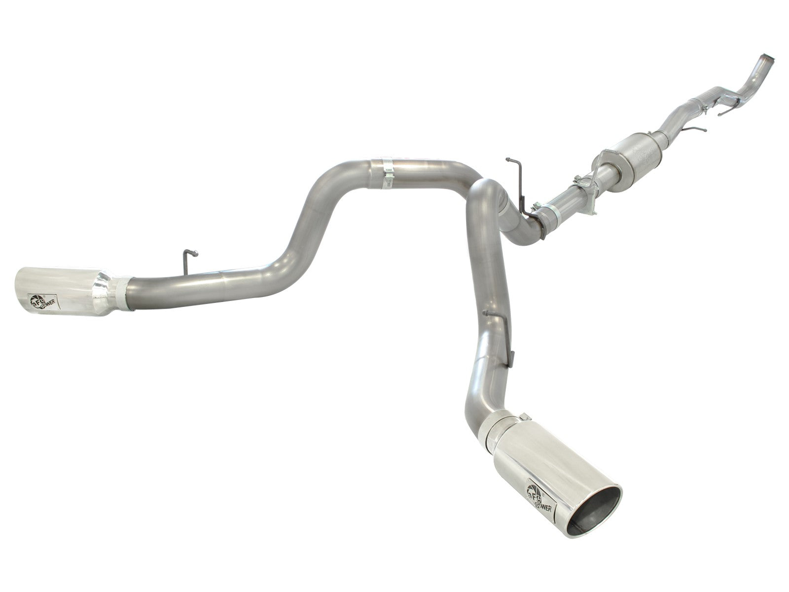 "AFE Power Atlas 4"" Aluminized Down Pipe Back Dual Exhaust System - Northwest Diesel"