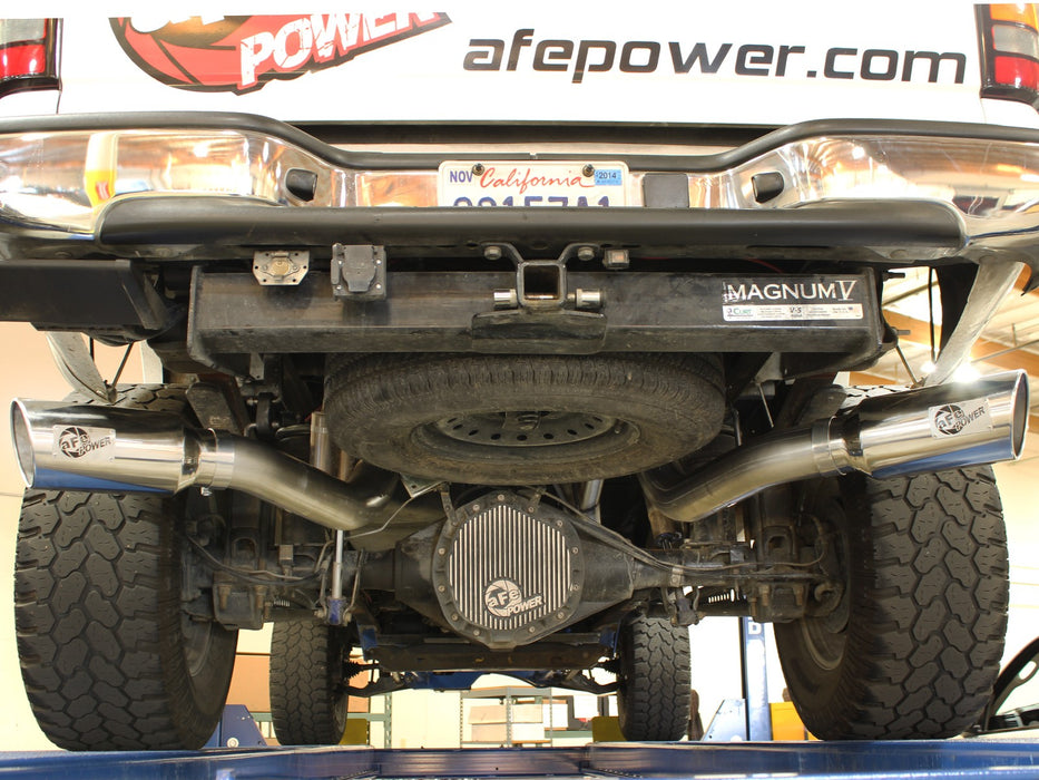 "AFE Power Large Bore-HD 4"" Downpipe Back Dual Exhaust System - Northwest Diesel"