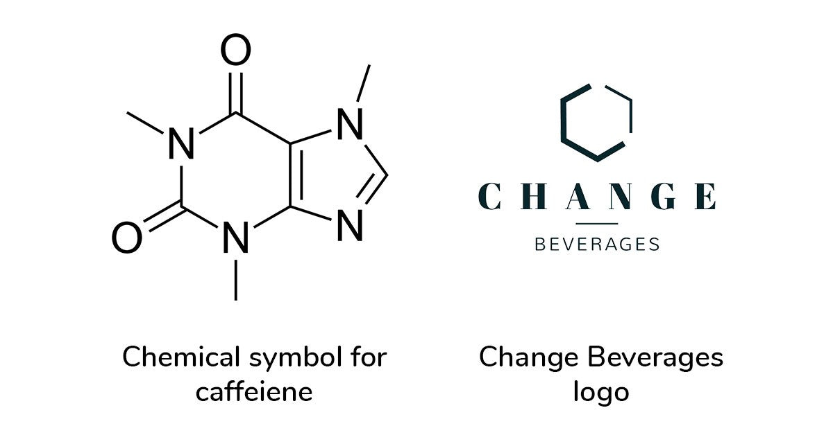 Change Beverages logo inspired by chemical symbol for caffiene