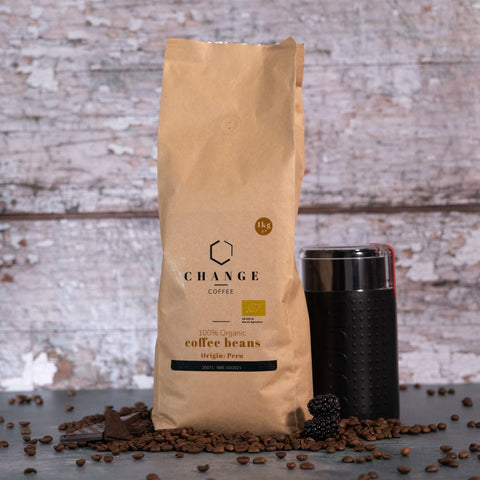 Brew Boffin Set - CHANGE COFFEE ORGANIC BEANS - SINGLE ORIGIN PERUVIAN 1KG - with Grinder
