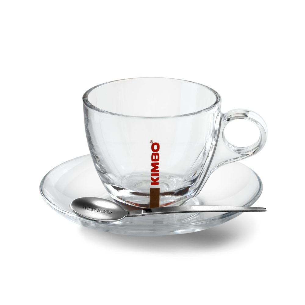 Kimbo Glass Cappuccino Cups and Saucers x 6