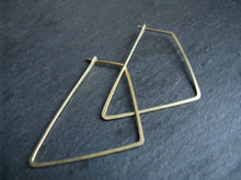 Load image into Gallery viewer, Thin geometric hoop earrings , minimalist brass hoops, Trapezoid
