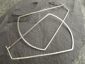 Statement silver hoop earrings, large trapeze ethnic hoops, Egyptian earrings