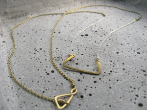 Hathor : delicate geometric necklace : silver brass : egyptian jewelry
