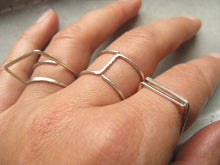 Load image into Gallery viewer, simple silver ring : open square ring : minimalist geometric