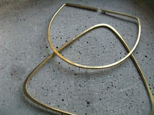 Modern geometric bangle bracelet . open semi-circle . oval brass bangle