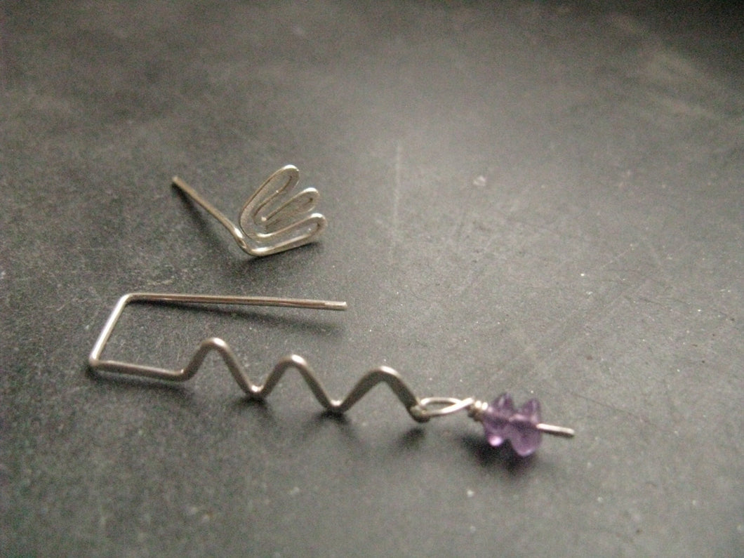 Snake + lotus , mismatched silver earrings,  Amethyst earring, Egyptian