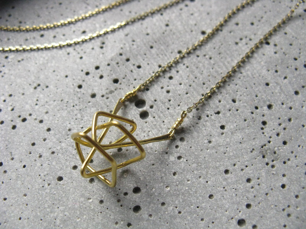 Polyhedron . modern geometric necklace . original pendant in brass