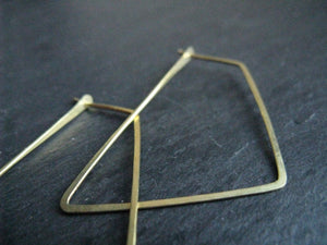 Thin geometric hoop earrings , minimalist brass hoops, Trapezoid