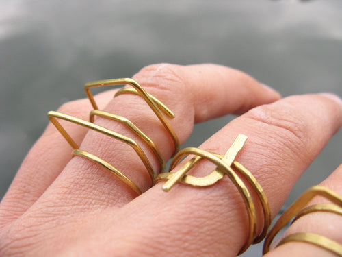 Contrast Polygons | sculptural geometric ring | bold architechtural ring gold tone brass