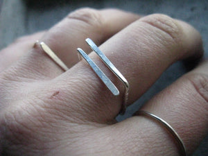 simple silver ring : open square ring : minimalist geometric